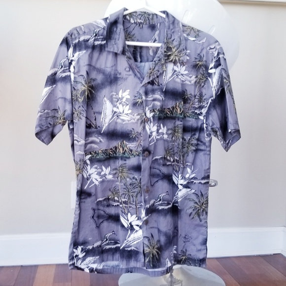 a948aec32 Palmwave Shirts | Grey Aloha Shirt Mens Small | Poshmark